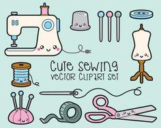 Premium Vector Clipart - Kawaii Sewing Clipart - Kawaii Sewing Clip art Set - High Quality Vectors - Instant Download - Kawaii Sew Clipart