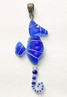 Cobalt Blue Seahorse Pendant or Small Suncatcher by oceansbounty