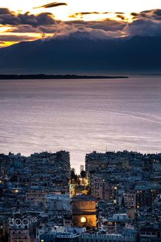 The city of Thessaloniki at dusk - In Macedonia, northern Greece, Mt Olympus in the background. Photography by Konstantinos Tls. Greece Travel, Hotels, Greek Islands, Strand, Places To See, The Good Place, Cool Pictures, Beautiful Places, Scenery