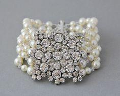 Bridal Bracelet Wedding Cuff Bracelet Vintage by LavenderByJurgita