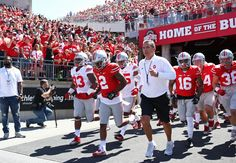 Apr 16, 2016; Columbus, OH, USA; Ohio State head coach Urban Meyer leads the Scarlet and Gray teams onto the field prior to the spring game at Ohio Stadium. (4536×3140)