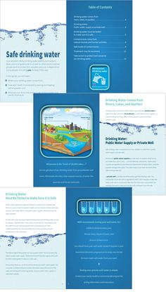Drinking Water brochure spread for Minnesota Department of Health designed by The Design Company Water Branding, Safe Drinking Water, Human Services, Water Treatment, Water Supply, Design Firms, Brochure Design, Editorial Design, Minnesota