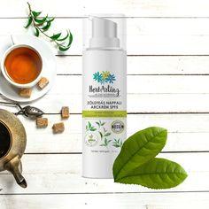 A limitált kiadású, magyar termesztésű tea felhasználásával készült könnyű krém véd a nap káros sugarai ellene, emellett pedig nyugtatja a bőrt és mélyen hidratálja is. Nap, Shampoo, Herbs, Bottle, Beauty, Flask, Cosmetology, Jars, Herb