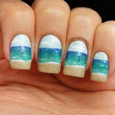 Nails . Nailart - Ocean nails. All polish on natural nails --- Instagram @majikbeenz #ocean #beach #summer