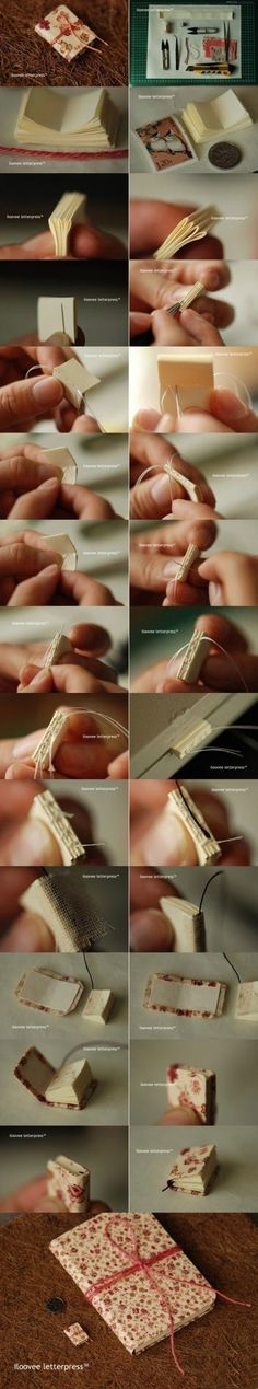 Binding a mini book - How cool is this?! I'll have to get my bifocals adjusted to do this, though!