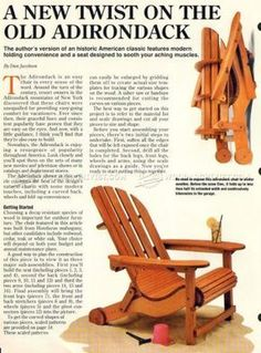 #974 Folding Adirondack Chair Plans - Outdoor Furniture Plans and Projects                                                                                                                                                                                 More