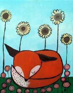 Fox sleeping under Flowers, Wax crayon sketch