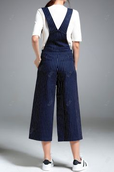 Stripe Denim Suspender Pants