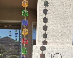 5 ft Jewel tone Rain Chain - Wrapped in Brass wire.