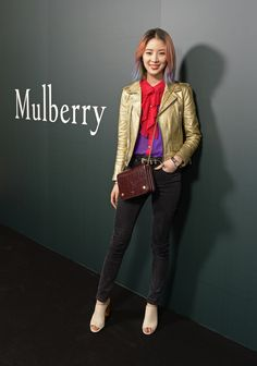 Irene Kim with the Clifton bag from Autumn 2016 at the Mulberry London Fashion Week show