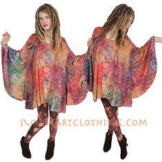 Sunheart Batik UBER PONCHO bohemian Hippie Chic Ruched Festival ForestWear Resort Wear one size sml med large xl 1x 2x 3x 4x plus