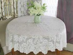 """Antique French Alencon Round 67"""" Lace Tablecloth Made in France C1900 