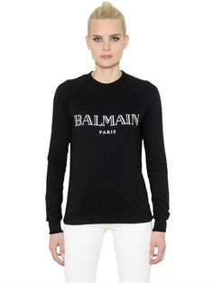 BALMAIN Logo Printed Cotton Jersey Sweatshirt, Black/White. #balmain #cloth #sweatshirts