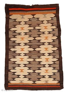 #1B311  Handmade antique American-Indian Navajo rug 3.1' X 4.10' ( 94cm X 152cm)…
