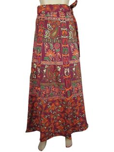 Amazon.com: Wrap Around Skirts , Sarong, Boho Plum Paisley Print Long Wrap Skirt for Women: Clothing