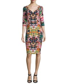Sherilyn+3/4-Sleeve+Floral+Ponte+Sheath+Dress,+Multicolor+by+Black+Halo+at+Neiman+Marcus.