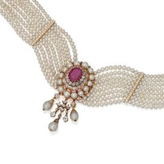 SOTHESBY'S MAGNIFICENT JEWELS ~ Gold, Natural Pearl, Diamond and Ruby Choker Necklace