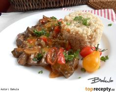 Pikantní vepřová játra s houbami Meatloaf, Grains, Stuffed Mushrooms, Beef, Cooking, Food, Diet, Meat, Baking Center