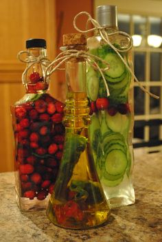 Having an awesome time creating Christmas gifts for friends and family! Cranberry and Cucumber infused vodka and Cayenne pepper infused olive oil...