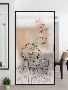 Flower Window Film for Privacy, Frosted Window Decal Decorative Film for Home Decor Flower Window Film Privacy Policy Frosted Window Decal Home Decor Film - MicoolarEAVES OF GRASS wallpapers with botanical prints turn a garden into a . Glass Film Design, Window Glass Design, Frosted Glass Design, Diy Frosted Glass Window, Frosted Window Film, Glass Partition Designs, Living Room Partition Design, Pooja Room Door Design, Stairway Decorating