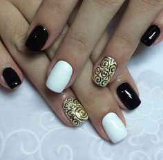Evening nails, Nail design cast gold, Nails with ornament pattern, Night nails, Office nails, Ordinary nails, Original nails, Rich-looking nails