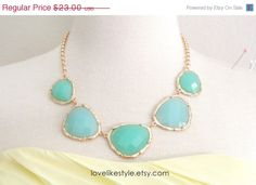 ON SALE Mint Green Stone and Gold Chain Statement by lovelikestyle