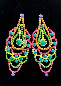 Inspire: Handpainted Neon Rhinestone Earrings