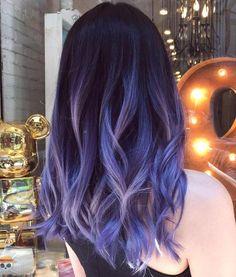 Blue And Pastel Purple Balayage