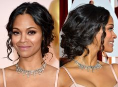 Zoe Saldana from Best Beauty Looks at the 2015 Oscars  Thank you, Zoe! For many things but right now for giving us this incredible updo and makeup combo.