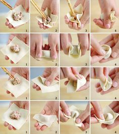 How to make Chinese Chicken Wontons at Home? Chinese Chicken, Chinese Food, Chinese Desserts, Wan Tan, Chinese Dumplings, Steamed Dumplings, Chicken Wontons, Wonton Recipes, Oriental Food