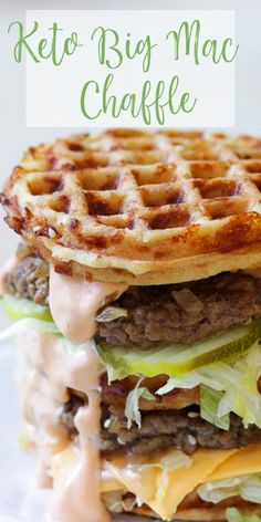 Keto Big Mac - Big Mac Chaffle - The perfect Chaffle bun, super thin, juicy, perfectly seasoned hamburger patty, crunchy dill pickle - Low Carb Burger, Low Carb Menu, Low Carb Recipes, Diet Recipes, Keto Burger, Chorizo Recipes, Keto Taco, Diet Meals, Quick Recipes