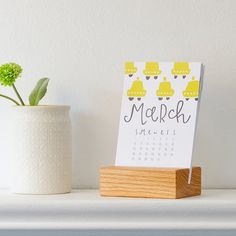 2016 desk calendar with wood stand by PinwheelPrintShop on Etsy