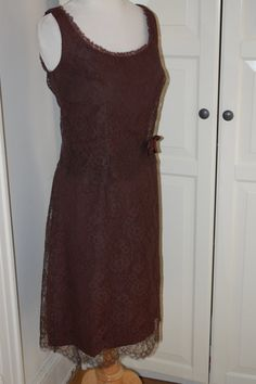 60s Dress, Lace, Jonathan Logan, Chocolate, Brown, Bridesmaid, Prom, NWOT, Size S/XS