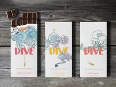 DIVE Chocolate on Packaging of the World - Creative Package Design Gallery - student project Dove Chocolate, Custom Chocolate, Personalized Chocolate, Chocolate Boxes, Label Design, Box Design, Package Design, Graphic Design, Chocolate Box Packaging