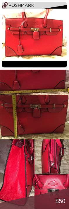 Red handle bag Barely used see 2nd pic for measurements. Pls use common sense and don't ask the obvious. No rips or tears that I can see. Bags