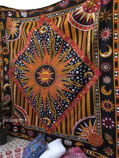 Queen Indian Sun Star Mandala Wall Hanging Zodiac Astrology Tapestry Bedspread