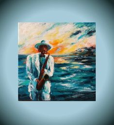 Acrylic Painting Canvas, Canvas Art, Family Wall Art, Music Wall Art, Sunset Art, Gift For Music Lover, Small Paintings, Painting Edges, Saxophone