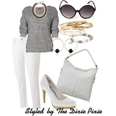 """""""Harper. Summer Sweater Outfits. White Jeans."""" by dixiepixie on Polyvore"""