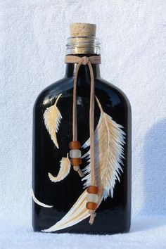 Golden Feather Flask or Decorative Bottle with Cork or Soap Dispenser