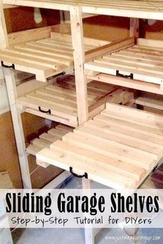 DIY Sliding Garage Storage Shelves - Great Tutorial
