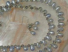 Vintage Blue Gray Glass Pearls Swarovski Black by WeddingChateau