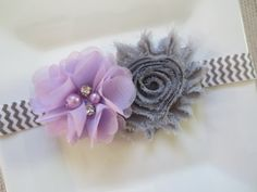 lavender and gray baby headband lavender by hartsandflowers, $6.50