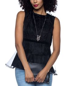 Black Ruffle-Accent Layered Top