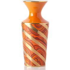 Jonathan Adler Malachite Twist Vase ($128) ❤ liked on Polyvore featuring home, home decor, vases, orange, orange home decor, handmade home decor, twisted vase, orange vase and jonathan adler