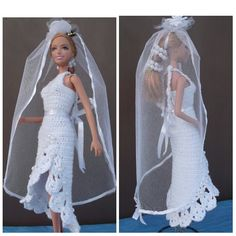 Платье. Свяжем свадебное платье кукле. Knit wedding dress the doll.