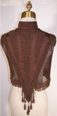 Victorian Brown & Bronze Beaded Cape Capelet   Back View.