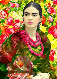 Frida Kahlo Watercolor Style Art Print Boho Roses by ARTDECADENCE