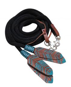Dark is Horse Tack proud to offer Showman ® 8ft round braided nylon split reins with teal painted feather popper. Round braided soft nylon nickel plated scissor snaps. Dark Horse Tack is the premier s
