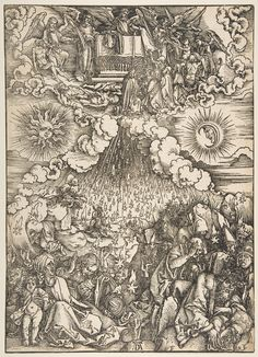 """""""White Robes given to the Martyrs. The Stars Falling from Heaven"""",by Albrecht Dürer (German, Nuremberg 1471–1528 Nuremberg)."""