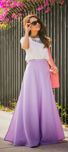 Lilac Maxi Skirt, White Tee, Statement Necklace // Easter Outfit For Women // Easter Outfit for Teens // Easter Outfit Church // Easter Outfit Casual // Easter Outfit Boho // Easter Outfit Ideas Source by DaretoCultivate outfits for women Modest Clothing, Modest Outfits, Modest Fashion, Dress Outfits, Fashion Skirts, Casual Outfits, Fashion Outfits, Fashion Ideas, Beauty And Fashion